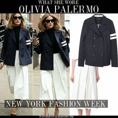 WHO: Olivia Palermo at Tibi fashion show during New York Fashion Week on February 14 2015 in New York  WHAT SHE WORE: Olivia wore blue double breasted pea coat by Tibi, white white leg cropped pants by Tibi and black pumps