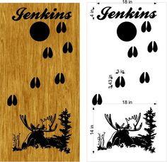 Moose Hunting Cornhole Board Decal Stickers Bean Baggo Tailgate - StickerChef