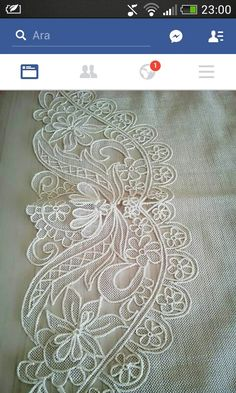 This Pin was discovered by suz Freeform Crochet, Irish Crochet, Crochet Doilies, Crochet Lace, Crochet Stitches, Needle Lace, Bobbin Lace, White Embroidery, Hand Embroidery
