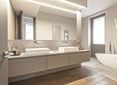 BRANDO concept  | Bagno padronale parquet vasca design mobile su misura bathroom design