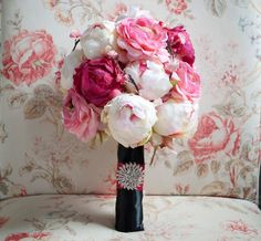 Cherry Blossom and Peony Wedding Bouquet - Black and Pink Peony Bouquet by Kate Said Yes Weddings - Silk Wedding Bouquet