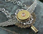 Shotgun Casing Jewelry - Steampunk Style Winged Clock Key Pendant with Stacked Filigrees and Remington 20 Gauge Shotgun Casing