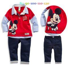 2015 nuevos niños de Mickey sistema ocasional camisas y pantalones de moda del bebé que arropan la historieta Mouse ropa niños que arropan el sistema(China (Mainland))