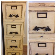 Update A Metal File Cabinet With Chalk Paint, Frames, Decorative Pulls U0026  Dark Wax.