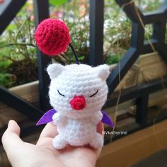 FREE SHIPPING Chibi Moogle Amigurumi Made-to-order Crochet, Moogle plush toy