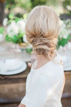 Messy summer chignon wedding hairstyle via Natalie Bray - Deer Pearl Flowers / http://www.deerpearlflowers.com/wedding-hairstyle-inspiration/messy-summer-chignon-wedding-hairstyle-via-natalie-bray/