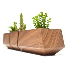 Boxcar Succulent Planters  Solid Walnut by RevolutionDH on Etsy, $55.00