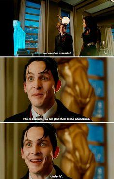 """""""You need an assassin! In gotham you find the phonebook Under 'a'"""" - Penguin and Tabitha #Gotham"""