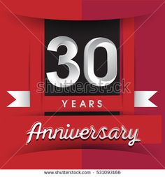 30 years anniversary logo with white ribbon isolated on red background, flat design style, Vector template elements for birthday celebration.