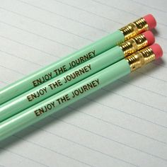 SHIPS 7 JULY enjoy the journey pencil set of three 3 in mint green. Jot brilliant notes, take exams, and doodle with this inspired pencil.. $4.00, via Etsy.