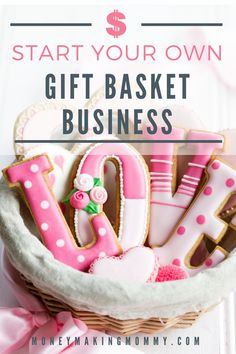 How to start your own gift basket business. A free guide to helping you start your own gift basket business. Creating gift baskets and running the business. Starting A Business, Business Planning, Baking Business, Cleaning Business, Art And Craft Videos, House Ideas, Gourmet Gifts, Candy Bouquet, Business Gifts