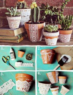 Make your own lace effect planters with terracotta pots.
