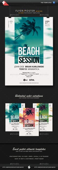 Summer Beach Session - Party Flyer / Poster Template A3 PSD. Download here: http://graphicriver.net/item/summer-beach-session-party-flyer-poster-template-a3/16528411?ref=ksioks