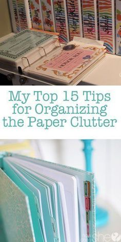 My top 15 Tips for Organizing the Paper Clutter. An extensive list of ways to organize all the paper clutter that we accumulate without even trying. Gotta stay on top of it! Organisation Hacks, Organizing Paperwork, Clutter Organization, Household Organization, Home Office Organization, Paper Organization, Organizing Paper Clutter, Organize Receipts, Organization For Bathroom