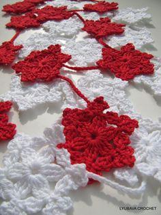 "Crochet Pattern Snowflake Garland ""Let it Snow"", Christmas Decor, Winter Wedding Crochet Decorations PDF, Lyubava Crochet Pattern number 64"