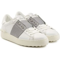 Valentino Open Leather Sneakers (900 AUD) ❤ liked on Polyvore featuring shoes, sneakers, white, white leather sneakers, valentino sneakers, white sneakers, lacing sneakers and white lace up shoes