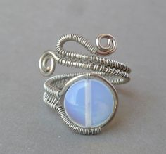 Opalite Wire wrapped ring // Wire Wrapped jewelry handmade // silver wire wrap ring // wire jewelry