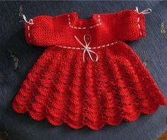 Beautiful red crochet dress for a little girl. Free graph pattern✅✔
