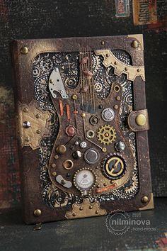 Mechanical notebook A5 Steampunk guitar blank journal от nilminova