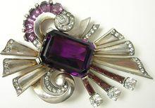 Mazer ~ Amethyst Crystal and Rhinestone ~ Sterling Silver ~ Pin Brooch ~ 1940s