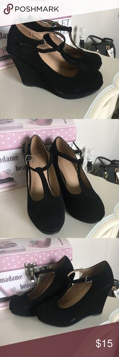 Black baby doll wedges Black babydoll wedges. Size 5.5 used only one time. Shoes Platforms