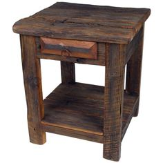 This rustic old wood end table (or nightstand) will enrich any southwest or rustic decor in any home. Working with mostly weathered old wood, craftsman create these rustic end tables. Old Wood Table, Rustic End Tables, Old Barn Wood, Reclaimed Wood Furniture, Rustic Furniture, Furniture Decor, Antique Furniture, Furniture Dolly, Street Furniture