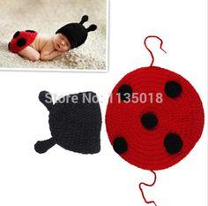 1 Pce bonito do bebê infantil de malha conjunto de roupas joaninha Costume Crochet foto Props 0-12 meses recém-nascidos fotografia do bebê chapéus bonés