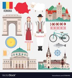 Set with Romanian traditional objects symbols of country: architecture, food, clothes. Travel elements in flat style. Spanish Costume, Kids Learning Activities, World Cities, Easy Paintings, Adobe Illustrator, Folk Art, Flat Style, Vector Free, Royalty Free Stock Photos