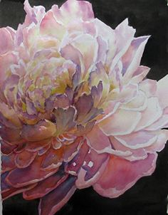 """Original art by Celeste McCall (myself). Hand drawn from a 'white' peony in my garden. This is 10x14"""" watercolor on Fabriano Hot press block."""