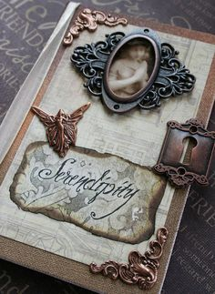 SERENDIPITY altered Victorian steampunk angel book blank mini journal for poetry, musings and display