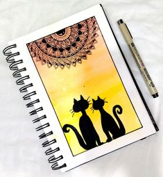 Mandala Art Lesson, Mandala Artwork, Cat Mandala, Mandala Design, Mirror Photography, Cute Disney Drawings, Oil Pastel Drawings, Indian Art Paintings, Gsm Paper