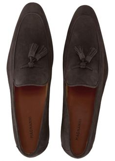 Dark brown tasselled suede loafers - Men