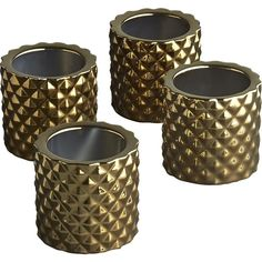 CB2 Set Of 4 Colada Tea Light Candle Holders (21 CAD) ❤ liked on Polyvore featuring home, home decor, candles & candleholders, brass pineapple candle holder, pineapple candle, brass home decor, metallic candles and brass candlestick holders