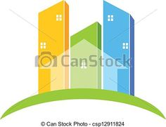 Vector - Buildings real estate logo - stock illustration, royalty free illustrations, stock clip art icon, stock clipart icons, logo, line art, EPS picture, pictures, graphic, graphics, drawing, drawings, vector image, artwork, EPS vector art