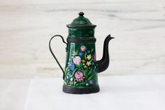 Handpainted French Enamel Coffee Pot in Green