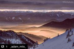 """Milujem keď nastanú takto zaujímave momenty žiaden """"gýč"""" len jedinečnečné prírodne divadlo  #praveslovenske od  @_adam_milo_  @directalpinecz    #sunrise #landscape #malafatra #vratna #slovensko #moutains #inversion #clouds #trees #forest #hills #winter #sniw #tatrymountains #slovakia"""