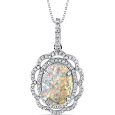 Item Number: SP11004     Availability: Usually Ships in 5 Business Days       PRODUCT DESCRIPTION:    With Kaleidoscope Rainbow Hues, this Sterling Silver Pendant features brilliant round cubic zirconia that surround a colorful Oval Shape Opal in a beautifully intricate design.      FEATURES:       Crafted in Sterling Silver  (1) 14.0 x 10.0mm Oval Shape Lab Created Opal  Brilliant Cubic Zirconia  Intricate Trim Design  Pendant Dimensions: 1 1/4 x 3/4 Inch     Shop this product…