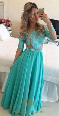 NextProm.com Offers High Quality Tiffany Blue Long Sleeve Beaded Waist  Backless Chiffon Evening Dress f4c8b5206508