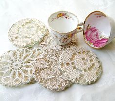 Lace-covered coaster; repurposed lace, tableclothes, curtains etc