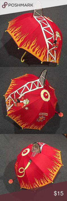"""KIDORABLE FIREFIGHTER UMBRELLA 🌂 KIDORABLE FIREFIGHTER UMBRELLA. ☔️️NWT. Child Size for Little Hands. All Over Colorful Design. Appliqués on Top. Fun for Rainy Days!  Approx. 24"""" in Length. Kidorable Accessories"""