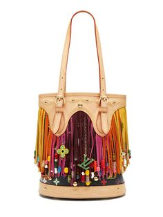 6a172d1f1d668 Louis Vuitton Rare White Multicolore Fringe Bucket Bag by Louis Vuitton at  Gilt