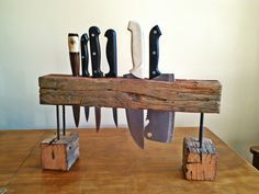 holder for knives upcycled wood, driftwood