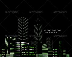 Night scenery with buildings vector grid background | GraphicRiver Night Modern City Vector Abstract Background 3648165