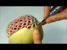 Fruit carving : How to carve the curling elements.