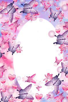 Purple Heart Frames | Cute Pink and Purple Butterfly Frame