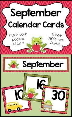 Number cards for your September calendar - Fit in your pocket chart - 3 different designs! September Calendar, Calendar Time, Print Calendar, Kids Calendar, Free Calendar, Calendar Ideas, Monthly Planner Printable, Printable Calendar Template, Classroom Calendar