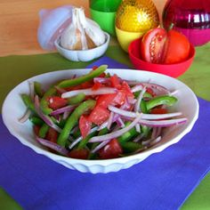 Tomato Pepper Salad with Lemon Dressing