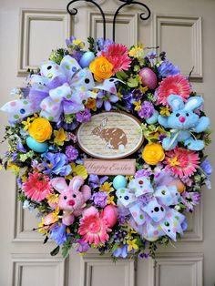 Easter Door Wreath - Grapevine - Floral - Bunnies - Gerber Daisies - Spring #HandmadebyJanfromBerdiesBloomers