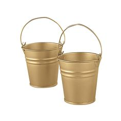 """Goldtone Mini Buckets. Create unique centerpieces with these galvanized metal buckets! Ideal for a wedding reception or elegant party, these little pails can be filled with wrapped candies, flower petals and much more for a distinct table decoration. 2 1/2"""". Not food safe.We've listened. This product was improved based on customer ratings and reviews."""