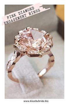 Unusual Wedding Rings, Pink Wedding Rings, Pear Cut Engagement Rings, Wedding Ring Designs, Beautiful Engagement Rings, Pink Diamond Engagement Ring, Quartz Engagement Ring, Wedding Dreams, Wedding Planning